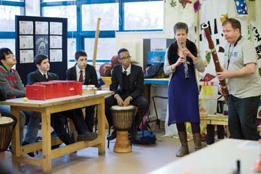 Whitefield school, Cricklewood. Able bodied and disabled students working together to break down barriers through music. The session was led by professional musicians, Luke Crookes and Claire Hoskins. 29/01/15 BP AMS
