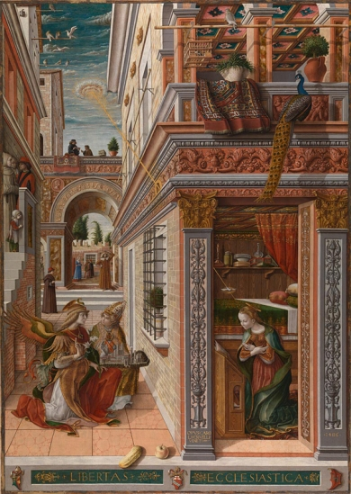 Carlo Crivelli, about 1430/5 - about 1494 The Annunciation, with Saint Emidius 1486 Egg and oil on canvas, 207 x 146.7 cm Presented by Lord Taunton, 1864 NG739 https://www.nationalgallery.org.uk/paintings/NG739