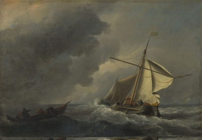 Willem van de Velde, 1633 - 1707 A Dutch Vessel in a Strong Breeze about 1670 Oil on canvas, 23.2 x 33.2 cm Bequeathed by Lord Farnborough, 1838 NG150 https://www.nationalgallery.org.uk/paintings/NG150