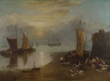 Joseph Mallord William Turner, 1775 - 1851 Sun rising through Vapour: Fishermen cleaning and selling Fish before 1807 Oil on canvas, 134 x 179.5 cm Turner Bequest, 1856 NG479 https://www.nationalgallery.org.uk/paintings/NG479