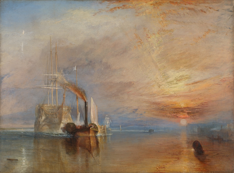 Joseph Mallord William Turner, 1775 - 1851 The Fighting Temeraire tugged to her last berth to be broken up, 1838 1839 Oil on canvas, 90.7 x 121.6 cm Turner Bequest, 1856 NG524 https://www.nationalgallery.org.uk/paintings/NG524