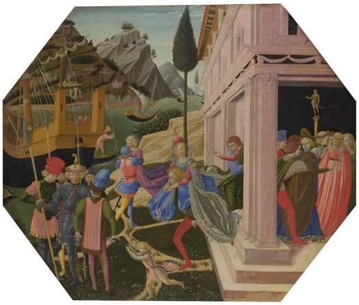 Probably by Zanobi Strozzi, 1412 - 1468 The Abduction of Helen about 1450-5 Egg tempera on wood, 51 x 60.8 cm Bought, 1857 NG591 https://www.nationalgallery.org.uk/paintings/NG591