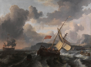Ludolf Bakhuizen, 1630/1 - 1708 An English Vessel and a Man-of-war in a Rough Sea off a Coast with Tall Cliffs probably 1680s Oil on canvas, 98.5 x 132 cm Bought, 1871 NG819 https://www.nationalgallery.org.uk/paintings/NG819