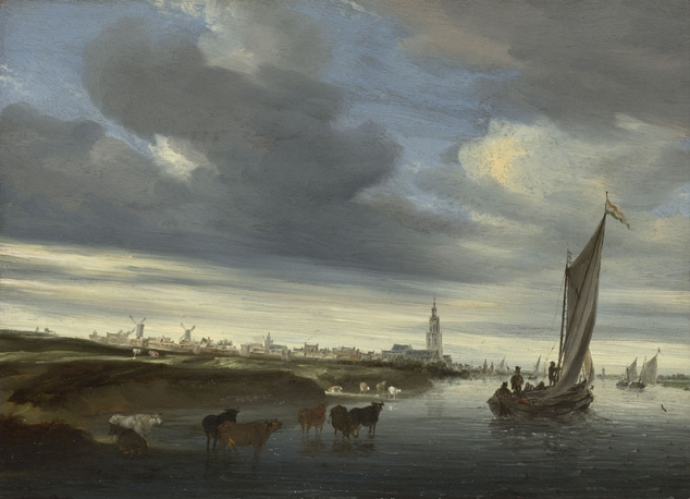 Salomon van Ruysdael, 1600/3? - 1670 A View of Rhenen seen from the West 1648 Oil on wood, 30.5 x 41.3 cm Bequeathed by Nicholas A. Argenti with a life interest to Mrs Argenti, 1963 NG6348 https://www.nationalgallery.org.uk/paintings/NG6348